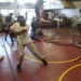 Cleveland Westbrook takes batting practice inside Norland's converted batting cage.